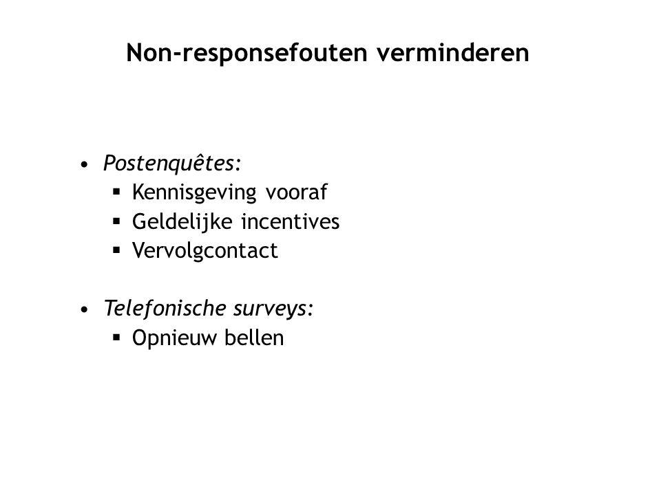 Postenquêtes:  Kennisgeving vooraf  Geldelijke incentives  Vervolgcontact Telefonische surveys:  Opnieuw bellen Non-responsefouten verminderen