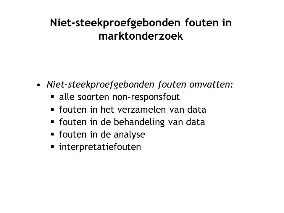 Niet-steekproefgebonden fouten omvatten:  alle soorten non-responsfout  fouten in het verzamelen van data  fouten in de behandeling van data  fout