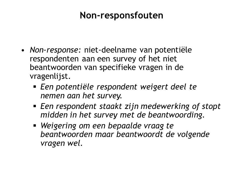 Non-response: niet-deelname van potentiële respondenten aan een survey of het niet beantwoorden van specifieke vragen in de vragenlijst.  Een potenti