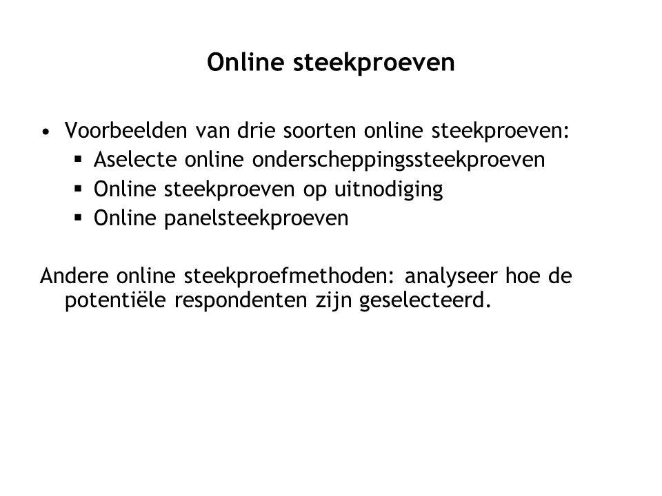 Online steekproeven Voorbeelden van drie soorten online steekproeven:  Aselecte online onderscheppingssteekproeven  Online steekproeven op uitnodigi