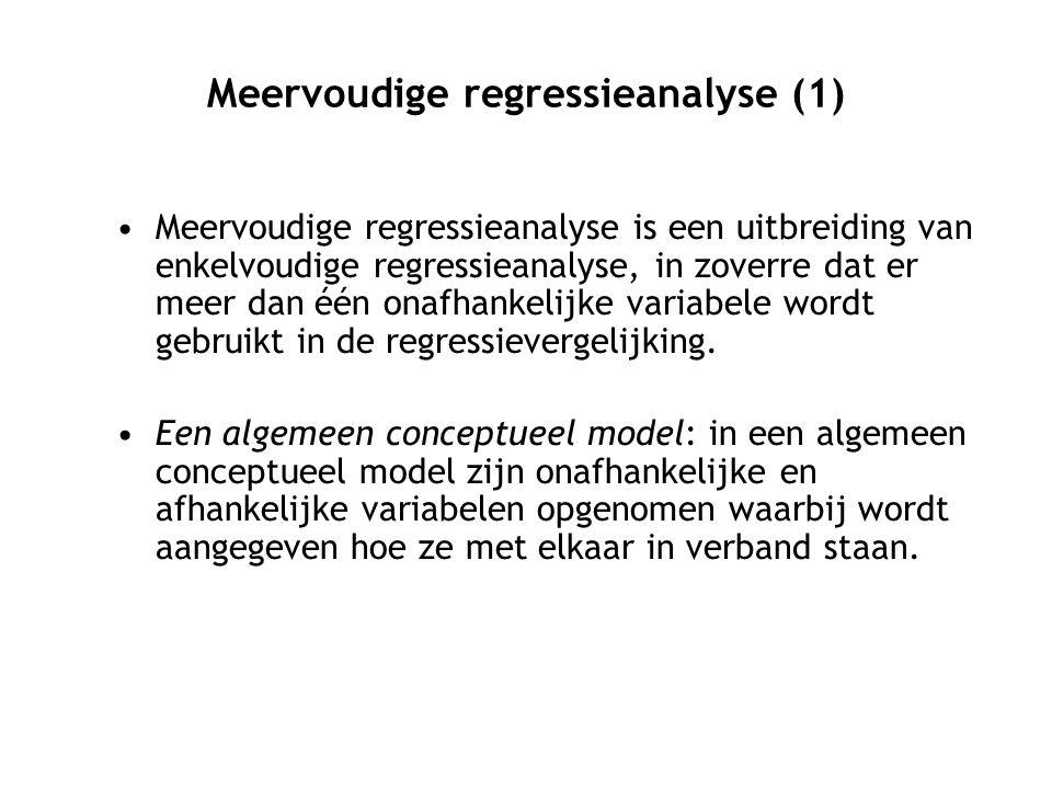 Meervoudige regressieanalyse (1) Meervoudige regressieanalyse is een uitbreiding van enkelvoudige regressieanalyse, in zoverre dat er meer dan één onafhankelijke variabele wordt gebruikt in de regressievergelijking.