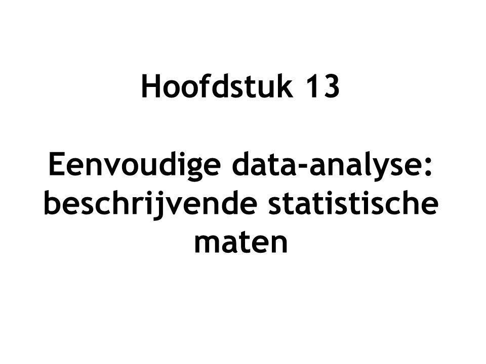 Hoofdstuk 13 Eenvoudige data-analyse: beschrijvende statistische maten