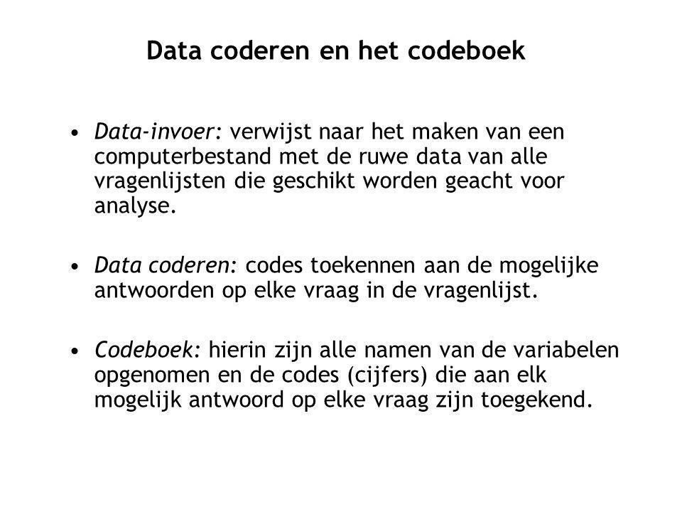 Data-invoer: verwijst naar het maken van een computerbestand met de ruwe data van alle vragenlijsten die geschikt worden geacht voor analyse. Data cod