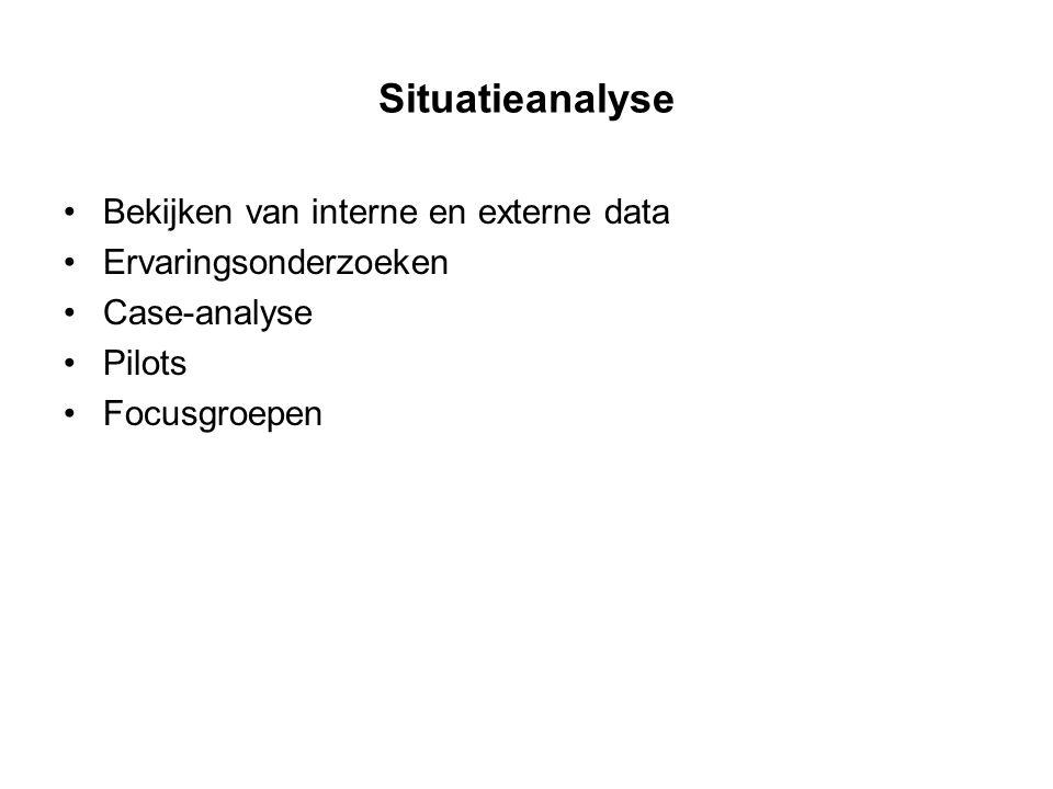 Situatieanalyse Bekijken van interne en externe data Ervaringsonderzoeken Case-analyse Pilots Focusgroepen