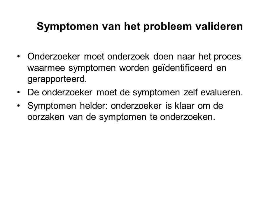 Symptomen van het probleem valideren Onderzoeker moet onderzoek doen naar het proces waarmee symptomen worden geïdentificeerd en gerapporteerd. De ond