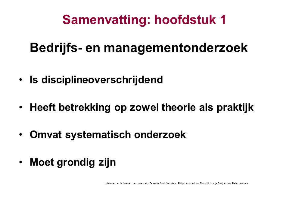 Samenvatting: hoofdstuk 1 Bedrijfs- en managementonderzoek Is disciplineoverschrijdend Heeft betrekking op zowel theorie als praktijk Omvat systematis