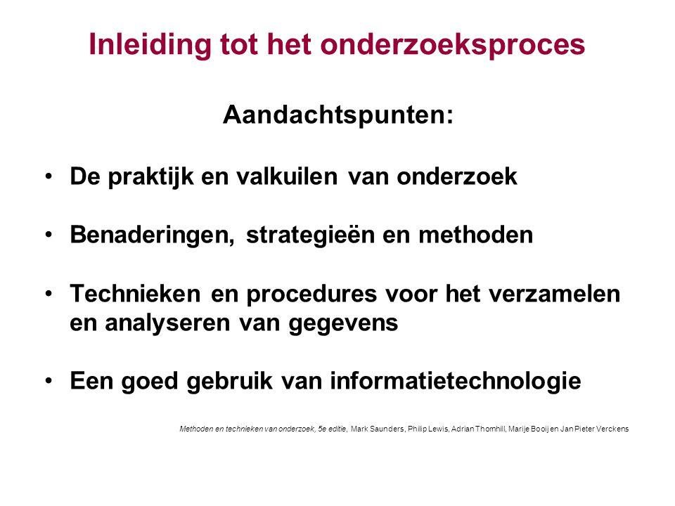 Inleiding tot het onderzoeksproces Aandachtspunten: De praktijk en valkuilen van onderzoek Benaderingen, strategieën en methoden Technieken en procedu