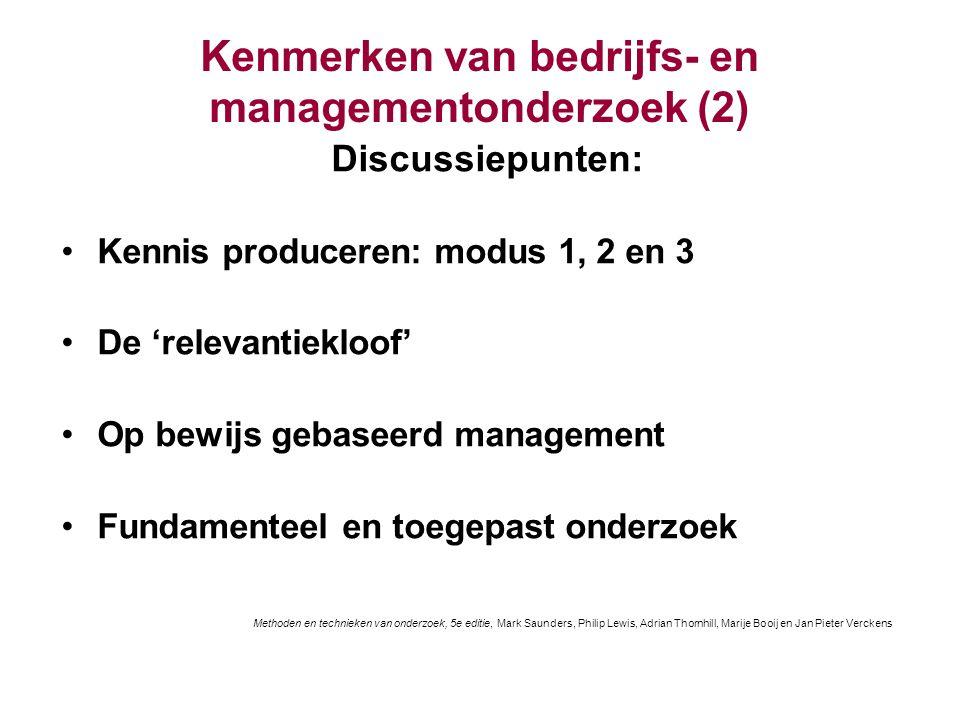 Kenmerken van bedrijfs- en managementonderzoek (2) Discussiepunten: Kennis produceren: modus 1, 2 en 3 De 'relevantiekloof' Op bewijs gebaseerd manage