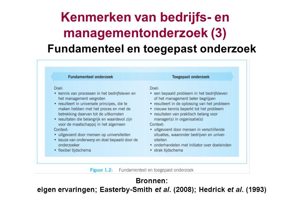 Kenmerken van bedrijfs- en managementonderzoek (3) Fundamenteel en toegepast onderzoek Bronnen: eigen ervaringen; Easterby-Smith et al. (2008); Hedric