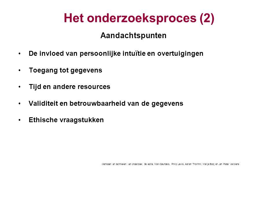 Het onderzoeksproces (2) Aandachtspunten De invloed van persoonlijke intuïtie en overtuigingen Toegang tot gegevens Tijd en andere resources Validitei