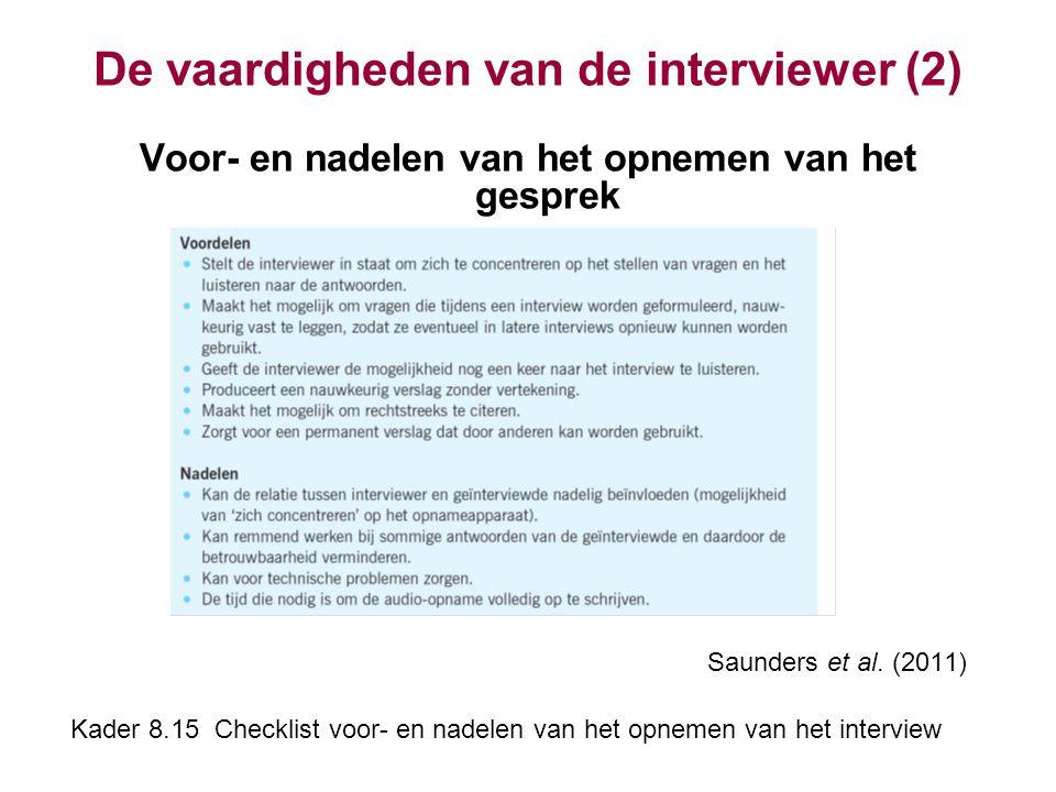 De vaardigheden van de interviewer (2) Voor- en nadelen van het opnemen van het gesprek Saunders et al. (2011) Kader 8.15 Checklist voor- en nadelen v
