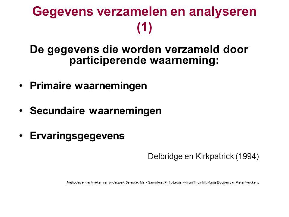 Gegevens verzamelen en analyseren (2) Aandachtspunten: Gegevens kunnen geclassificeerd worden als 'beschrijvende waarneming' of 'verhalend verslag' ( Robson, 2002) Verzamelmethodes zijn afhankelijk van de rol Verzamelen en analyseren kunnen gelijktijdig plaatsvinden Analytische inductie leidt tot een herdefiniëring van de oorspronkelijke hypothese Methoden en technieken van onderzoek, 5e editie, Mark Saunders, Philip Lewis, Adrian Thornhill, Marije Booij en Jan Pieter Verckens