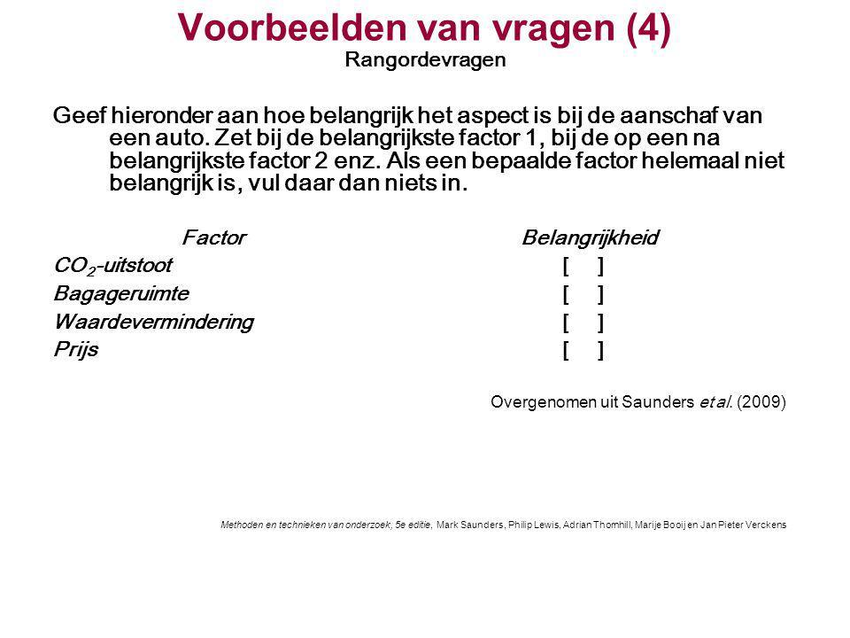 Voorbeelden van vragen (4) Rangordevragen Geef hieronder aan hoe belangrijk het aspect is bij de aanschaf van een auto. Zet bij de belangrijkste facto
