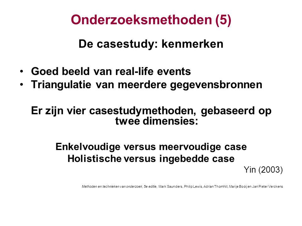 Onderzoeksmethoden (5) De casestudy: kenmerken Goed beeld van real-life events Triangulatie van meerdere gegevensbronnen Er zijn vier casestudymethode