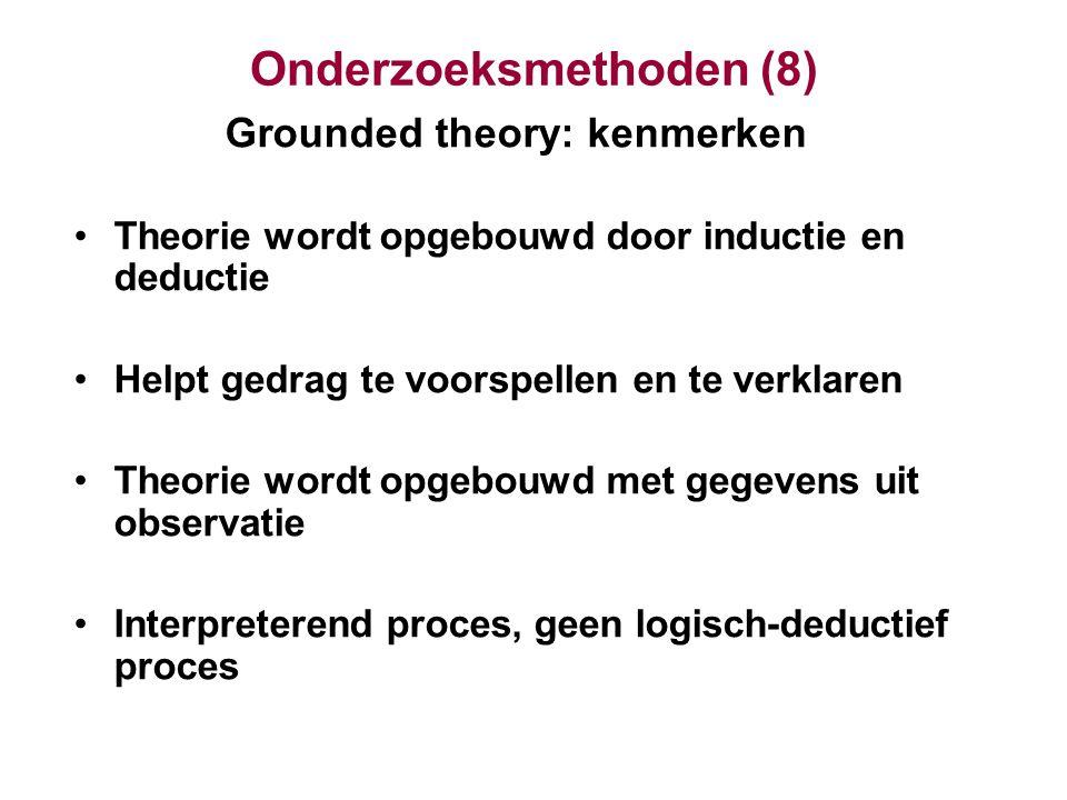 Onderzoeksmethoden (8) Grounded theory: kenmerken Theorie wordt opgebouwd door inductie en deductie Helpt gedrag te voorspellen en te verklaren Theori