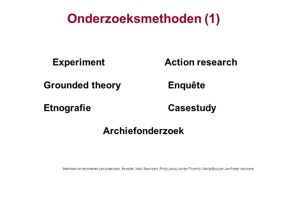 Onderzoeksmethoden (1) ExperimentAction research Grounded theoryEnquête Etnografie Casestudy Archiefonderzoek Methoden en technieken van onderzoek, 5e