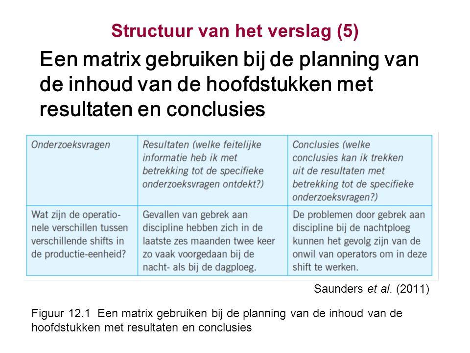 Structuur van het verslag (5) Een matrix gebruiken bij de planning van de inhoud van de hoofdstukken met resultaten en conclusies Saunders et al.
