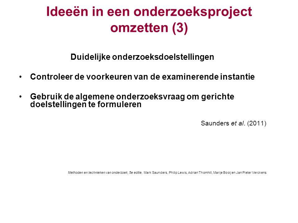 Ideeën in een onderzoeksproject omzetten (3) Duidelijke onderzoeksdoelstellingen Controleer de voorkeuren van de examinerende instantie Gebruik de alg