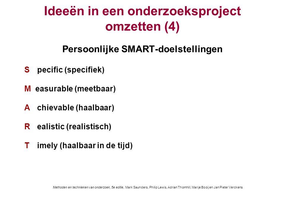 Ideeën in een onderzoeksproject omzetten (4) Persoonlijke SMART-doelstellingen S pecific (specifiek)) M easurable (meetbaar)) A chievable (haalbaar))