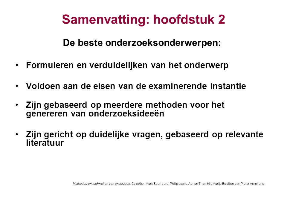 Samenvatting: hoofdstuk 2 De beste onderzoeksonderwerpen: Formuleren en verduidelijken van het onderwerp Voldoen aan de eisen van de examinerende inst
