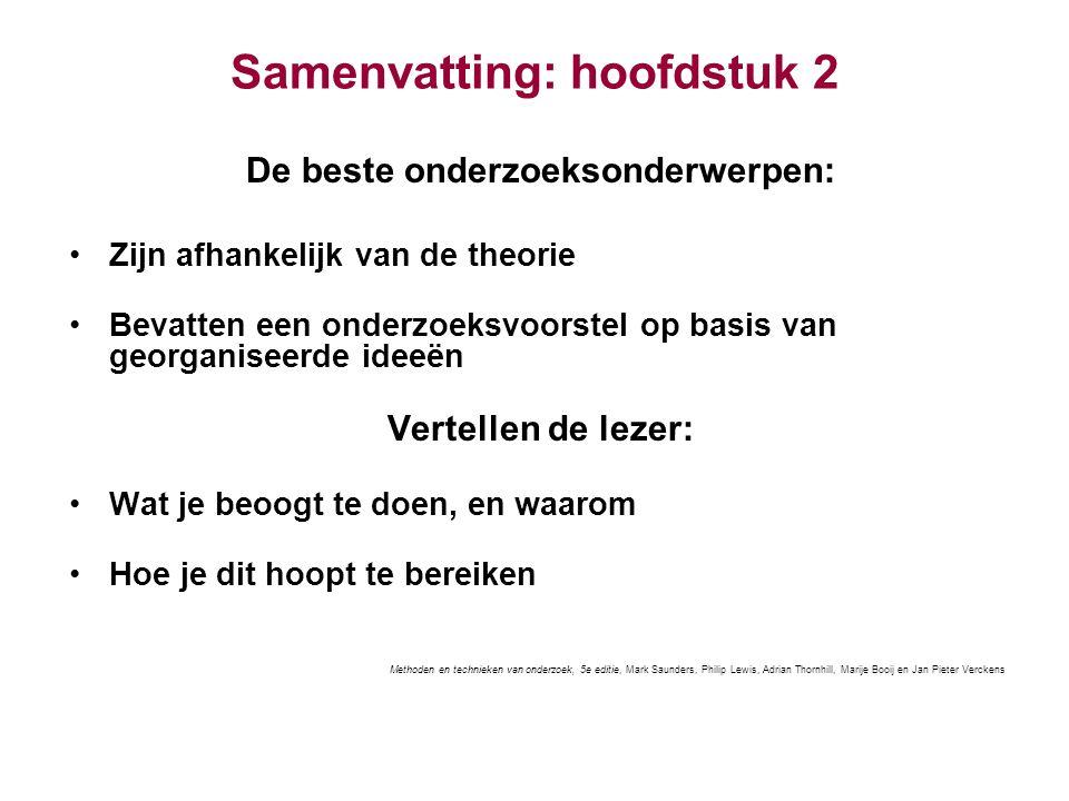 Samenvatting: hoofdstuk 2 De beste onderzoeksonderwerpen: Zijn afhankelijk van de theorie Bevatten een onderzoeksvoorstel op basis van georganiseerde