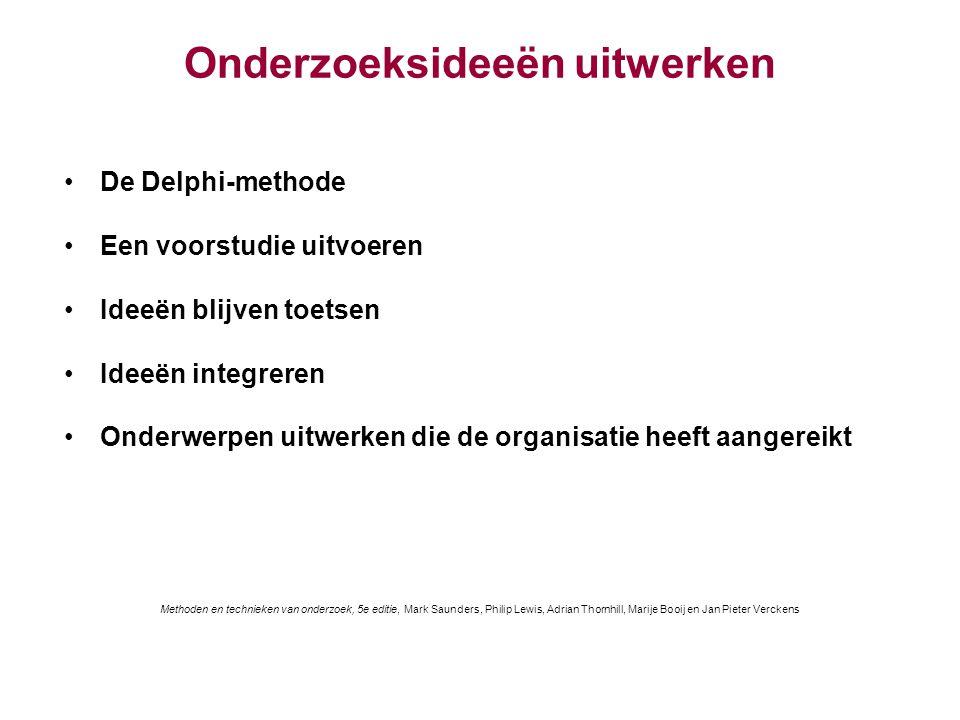 Onderzoeksideeën uitwerken De Delphi-methode Een voorstudie uitvoeren Ideeën blijven toetsen Ideeën integreren Onderwerpen uitwerken die de organisati