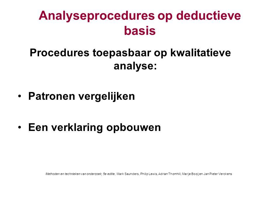 Analyseprocedures op deductieve basis Procedures toepasbaar op kwalitatieve analyse: Patronen vergelijken Een verklaring opbouwen Methoden en techniek