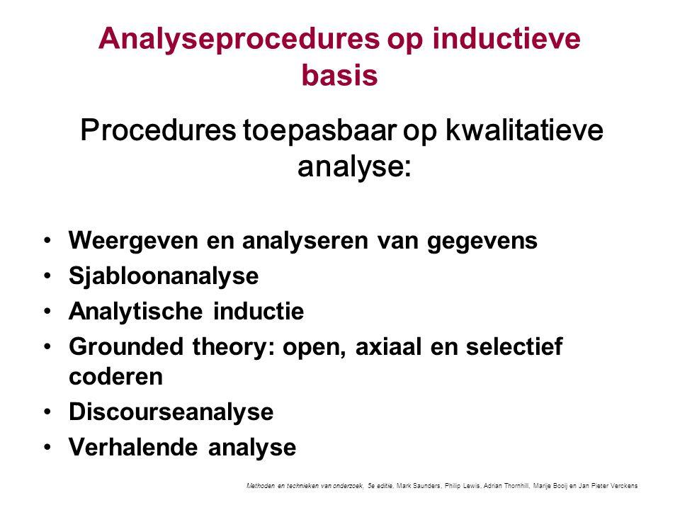 Analyseprocedures op inductieve basis Procedures toepasbaar op kwalitatieve analyse: Weergeven en analyseren van gegevens Sjabloonanalyse Analytische