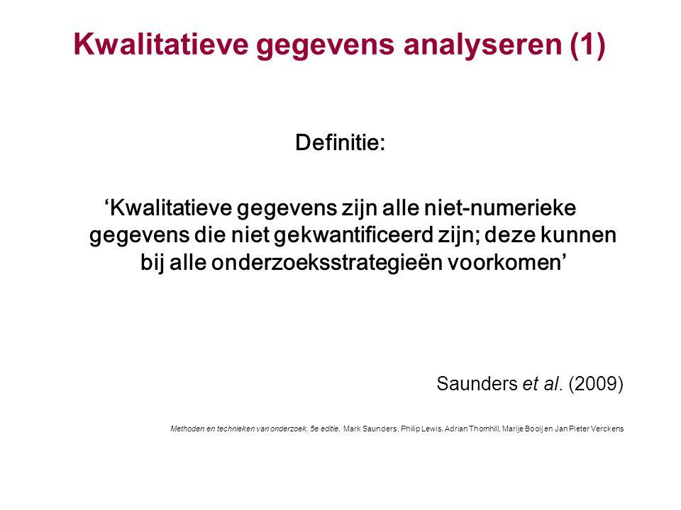 Kwalitatieve gegevens analyseren (1) Definitie: 'Kwalitatieve gegevens zijn alle niet-numerieke gegevens die niet gekwantificeerd zijn; deze kunnen bi