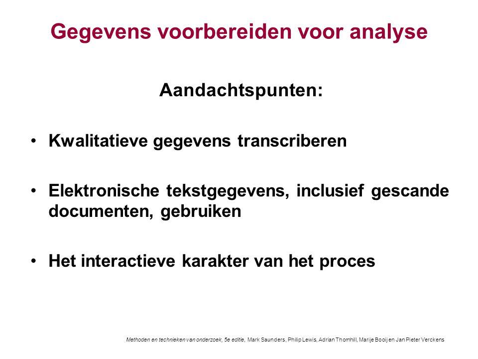 Gegevens voorbereiden voor analyse Aandachtspunten: Kwalitatieve gegevens transcriberen Elektronische tekstgegevens, inclusief gescande documenten, ge