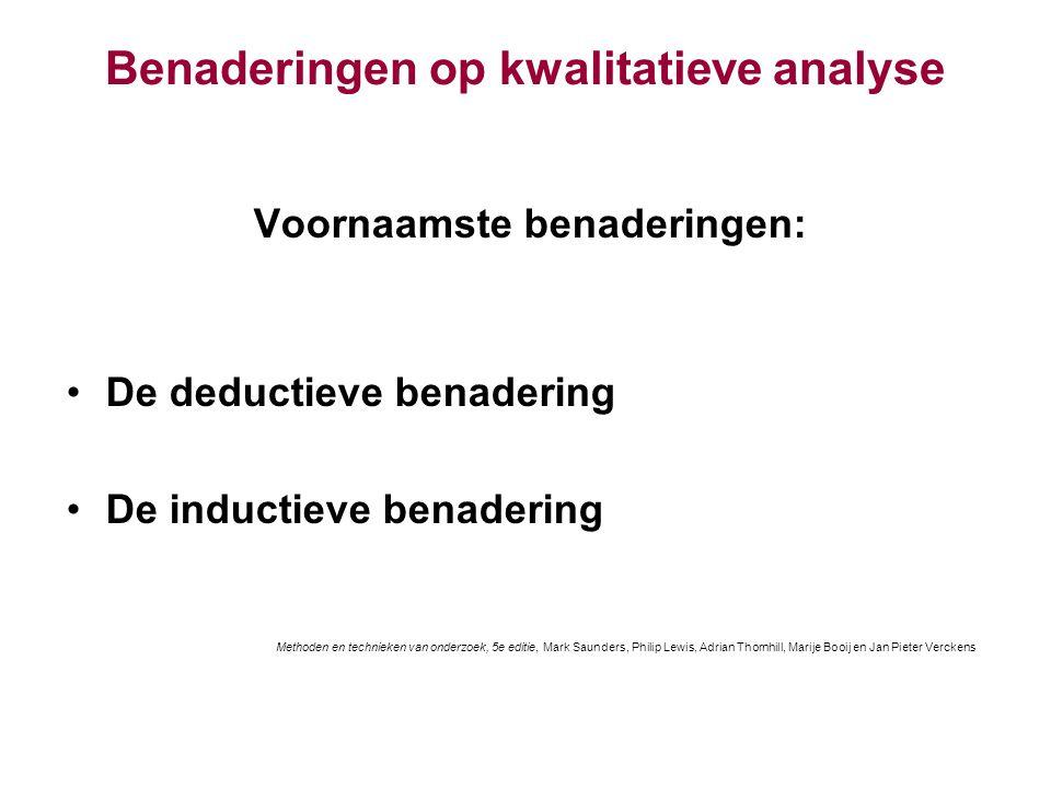 Benaderingen op kwalitatieve analyse Voornaamste benaderingen: De deductieve benadering De inductieve benadering Methoden en technieken van onderzoek,