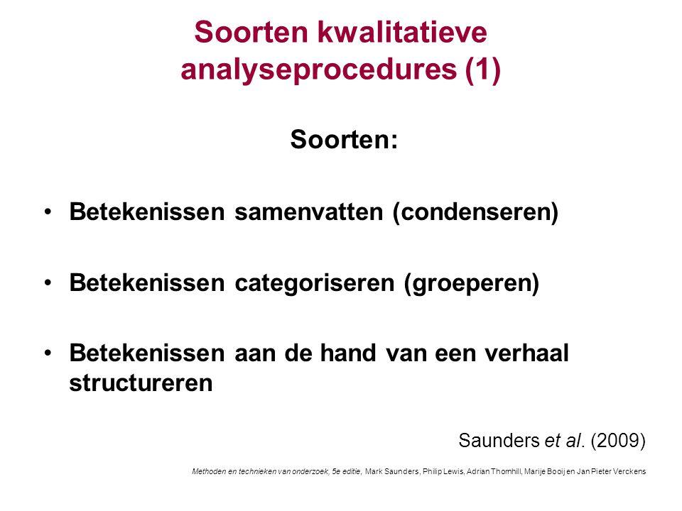 Soorten kwalitatieve analyseprocedures (1) Soorten: Betekenissen samenvatten (condenseren) Betekenissen categoriseren (groeperen) Betekenissen aan de