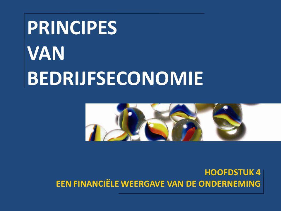 PRINCIPES VAN BEDRIJFSECONOMIE HOOFDSTUK 4 EEN FINANCIËLE WEERGAVE VAN DE ONDERNEMING