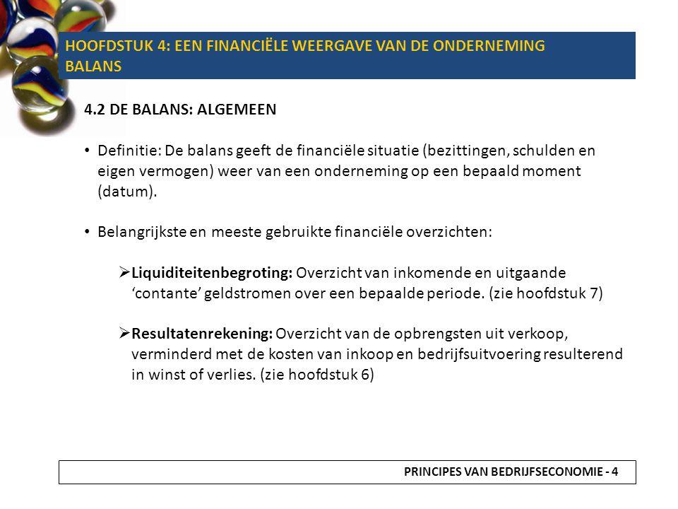 4.2 DE BALANS: ALGEMEEN Definitie: De balans geeft de financiële situatie (bezittingen, schulden en eigen vermogen) weer van een onderneming op een be