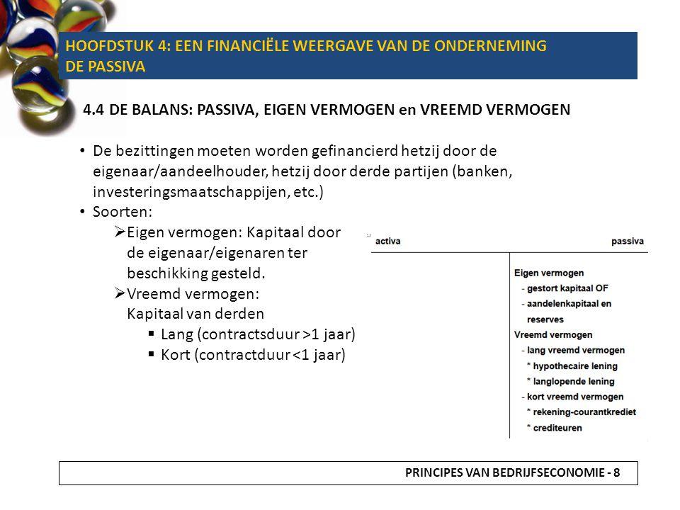 HOOFDSTUK 4: EEN FINANCIËLE WEERGAVE VAN DE ONDERNEMING DE PASSIVA 4.4 DE BALANS: PASSIVA, EIGEN VERMOGEN en VREEMD VERMOGEN De bezittingen moeten wor