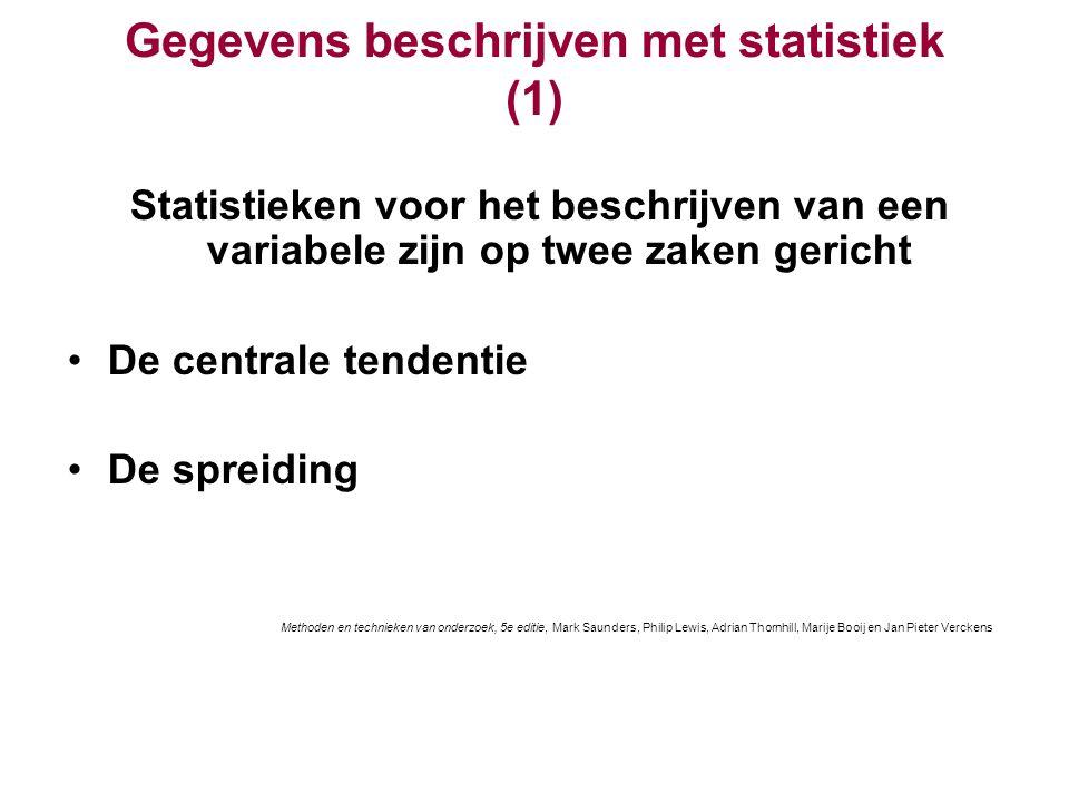 Gegevens beschrijven met statistiek (1) Statistieken voor het beschrijven van een variabele zijn op twee zaken gericht De centrale tendentie De spreid