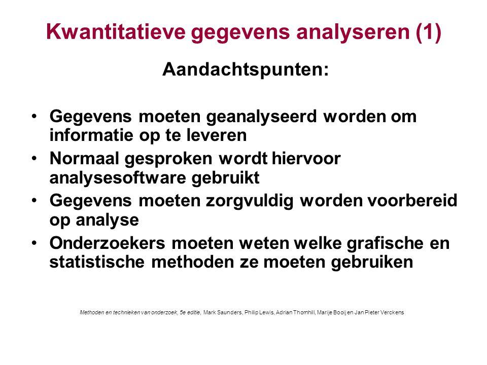 Kwantitatieve gegevens analyseren (1) Aandachtspunten: Gegevens moeten geanalyseerd worden om informatie op te leveren Normaal gesproken wordt hiervoo