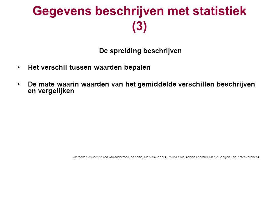 Gegevens beschrijven met statistiek (3) De spreiding beschrijven Het verschil tussen waarden bepalen De mate waarin waarden van het gemiddelde verschi