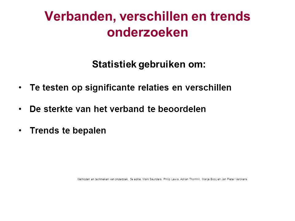 Verbanden, verschillen en trends onderzoeken Statistiek gebruiken om: Te testen op significante relaties en verschillen De sterkte van het verband te