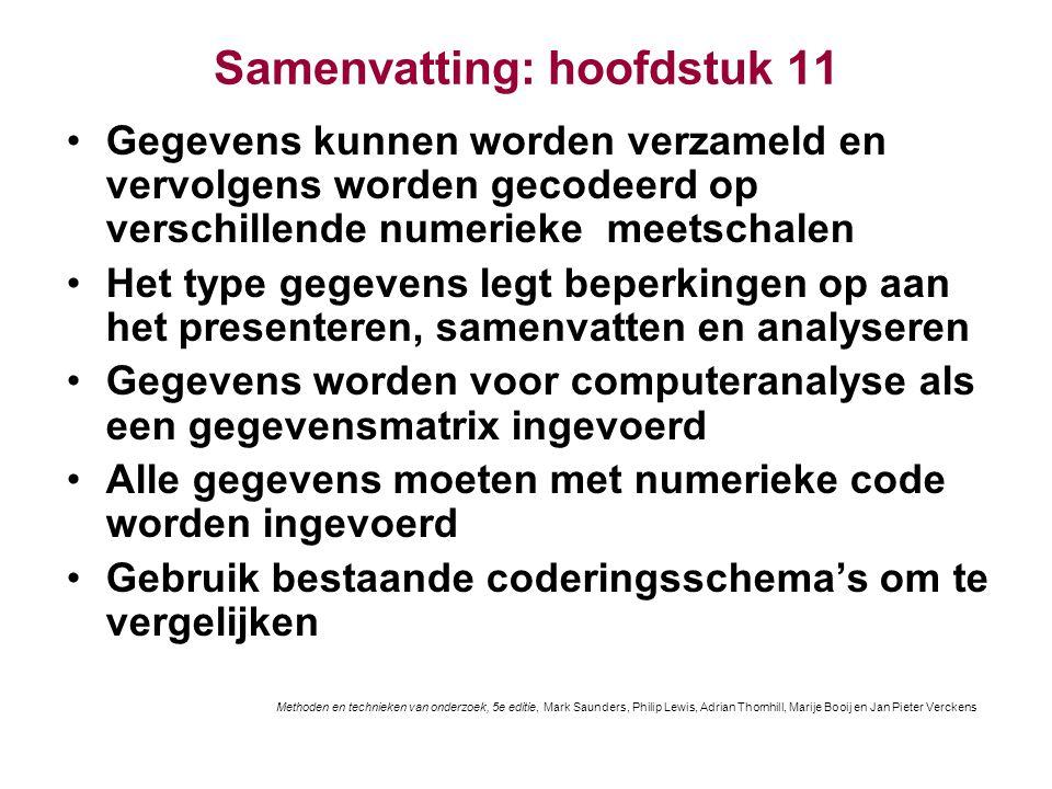 Samenvatting: hoofdstuk 11 Gegevens kunnen worden verzameld en vervolgens worden gecodeerd op verschillende numerieke meetschalen Het type gegevens le