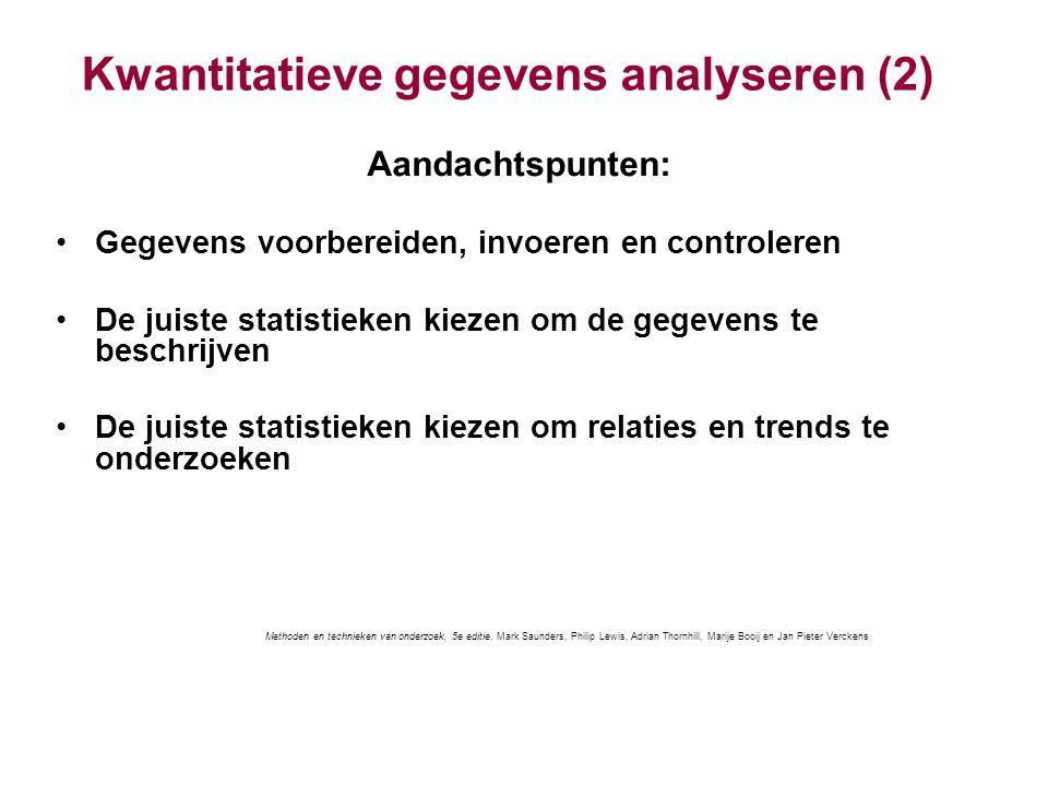 Kwantitatieve gegevens analyseren (2) Aandachtspunten: Gegevens voorbereiden, invoeren en controleren De juiste statistieken kiezen om de gegevens te