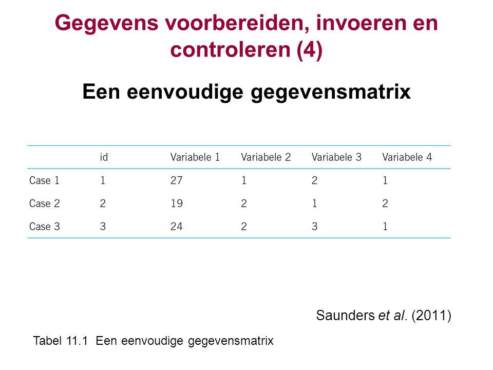 Gegevens voorbereiden, invoeren en controleren (4) Een eenvoudige gegevensmatrix Saunders et al. (2011) Tabel 11.1 Een eenvoudige gegevensmatrix