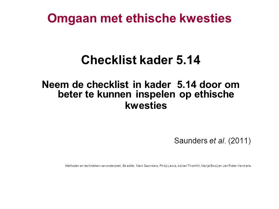 Omgaan met ethische kwesties Checklist kader 5.14 Neem de checklist in kader 5.14 door om beter te kunnen inspelen op ethische kwesties Saunders et al