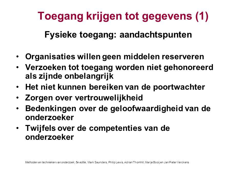 Onderzoeksethiek (6) Toestemming van de deelnemers Bron: Saunders et al.