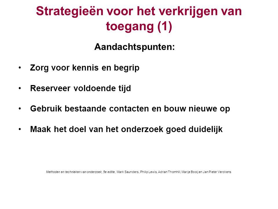Strategieën voor het verkrijgen van toegang (1) Aandachtspunten: Zorg voor kennis en begrip Reserveer voldoende tijd Gebruik bestaande contacten en bo