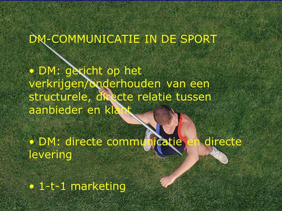 5 DM-COMMUNICATIE IN DE SPORT DM: gericht op het verkrijgen/onderhouden van een structurele, directe relatie tussen aanbieder en klant DM: directe com