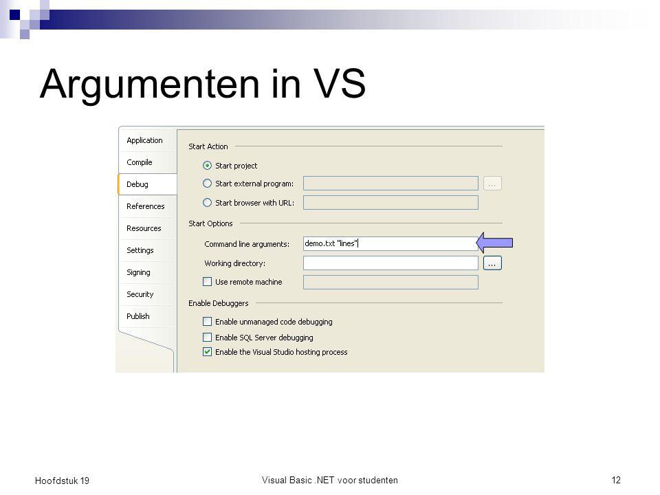 Hoofdstuk 19 Visual Basic.NET voor studenten12 Argumenten in VS