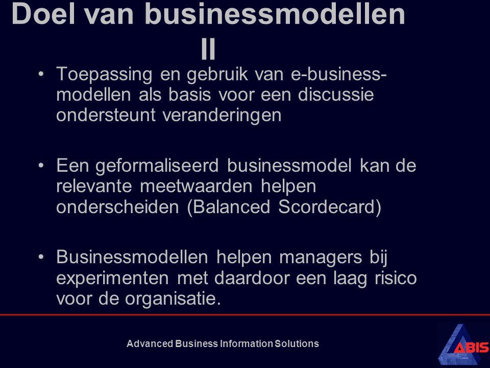 Advanced Business Information Solutions Doel van businessmodellen II Toepassing en gebruik van e-business- modellen als basis voor een discussie ondersteunt veranderingen Een geformaliseerd businessmodel kan de relevante meetwaarden helpen onderscheiden (Balanced Scordecard) Businessmodellen helpen managers bij experimenten met daardoor een laag risico voor de organisatie.