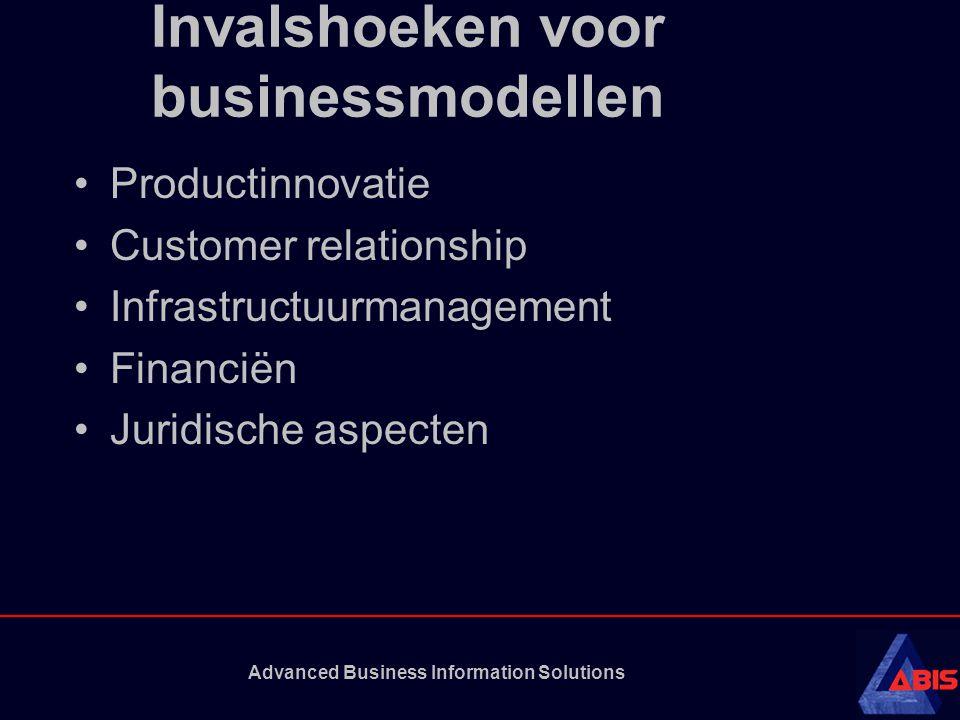 Advanced Business Information Solutions Invalshoeken voor businessmodellen Productinnovatie Customer relationship Infrastructuurmanagement Financiën Juridische aspecten