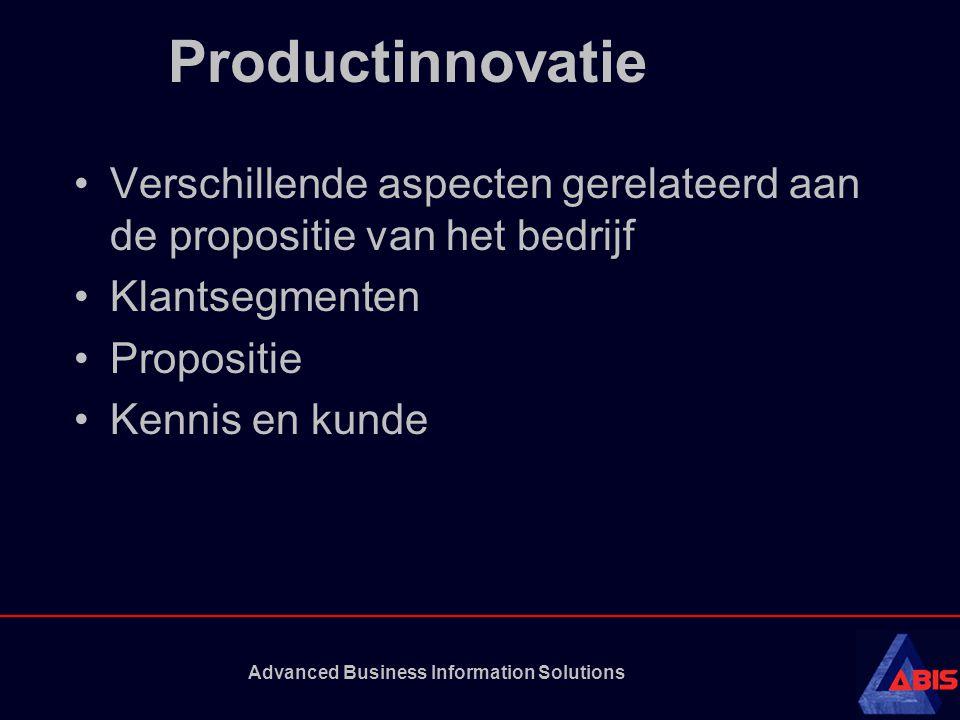 Advanced Business Information Solutions Productinnovatie Verschillende aspecten gerelateerd aan de propositie van het bedrijf Klantsegmenten Propositie Kennis en kunde